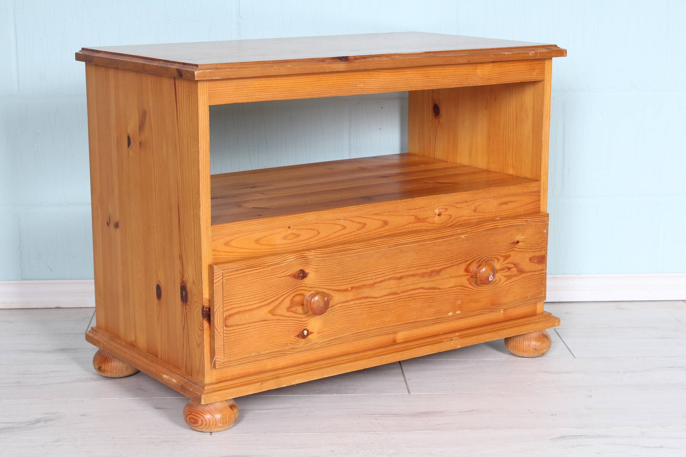 Pine Tv Unit With Shelf And Drawer, Lots Of Age Marks So Could within Pine Tv Unit (Image 9 of 15)