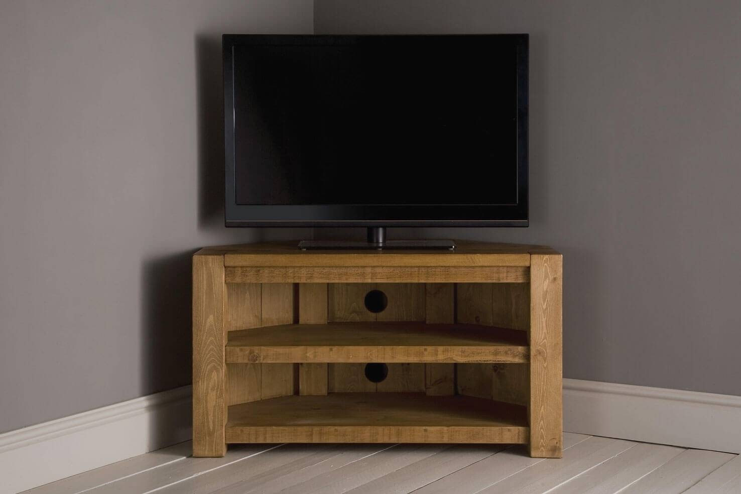 Plank Beam Corner Tv Unit With Shelfindigo Furniture For Wooden Corner Tv Units (View 2 of 15)