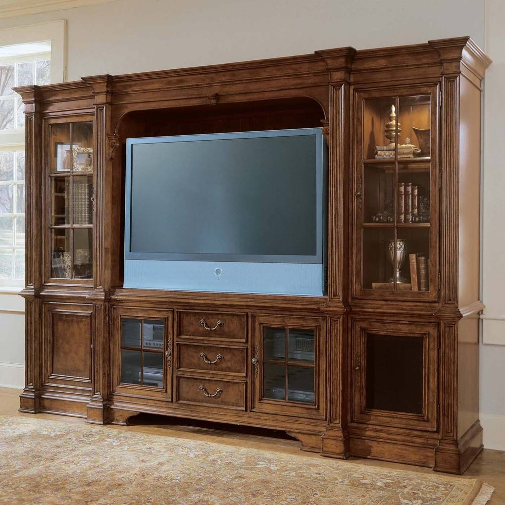 Plasma Console Deck Tv Stand Villa Cortina Bookcase Included | Tv Pertaining To Tv Stands With Bookcases (View 8 of 15)