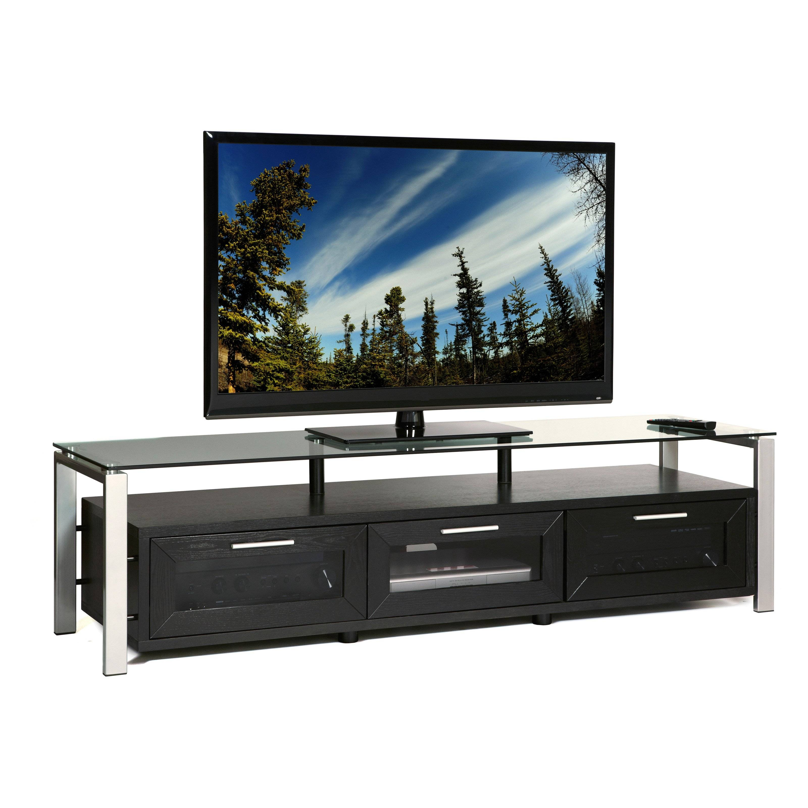 Plateau Decor 71 Inch Tv Stand In Black/clear And Silver | Hayneedle With Silver Tv Stands (View 4 of 15)