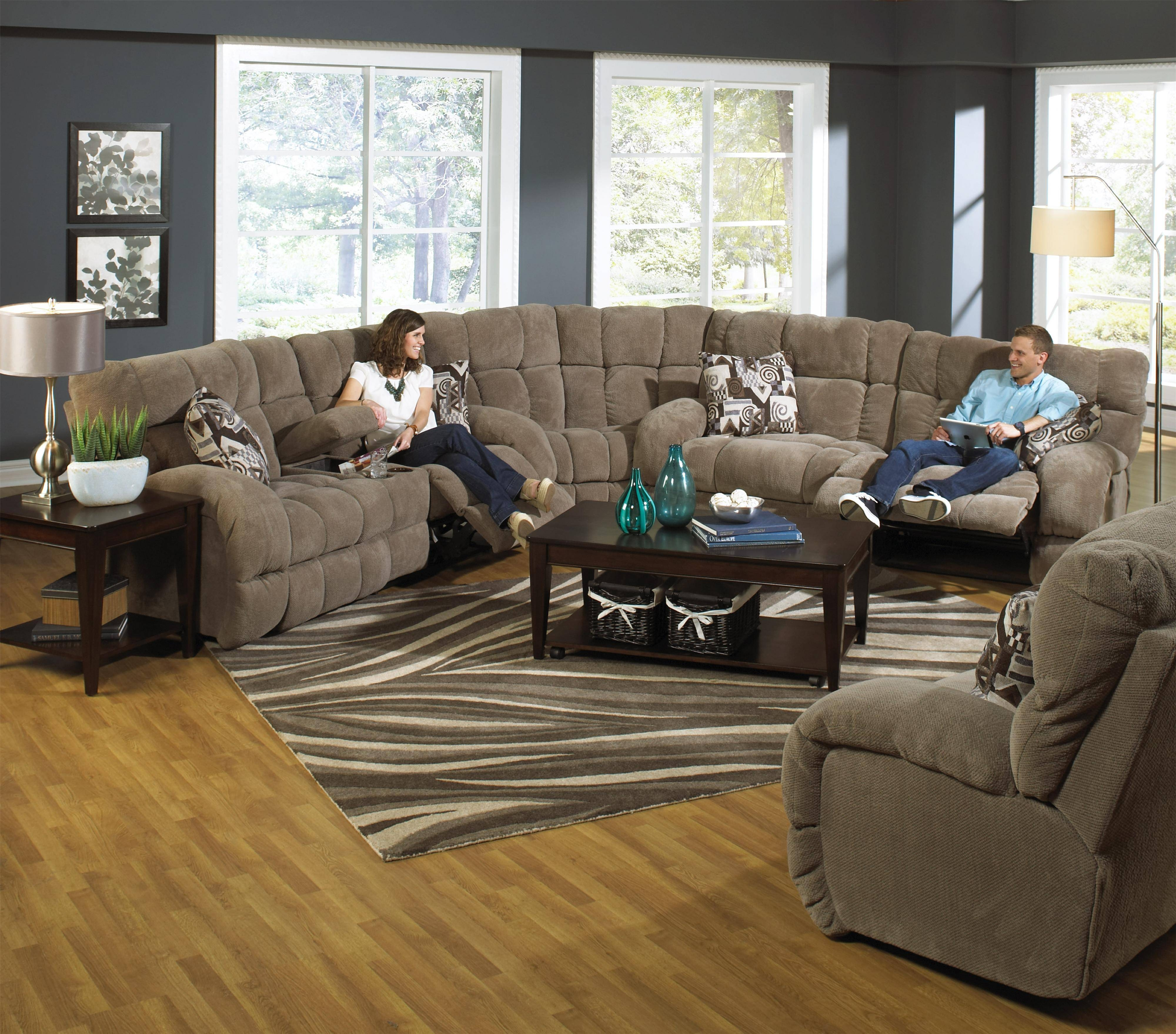 Power Reclining Sectional Sofa With Cup Holderscatnapper Pertaining To Catnapper Recliner Sofas (View 10 of 15)