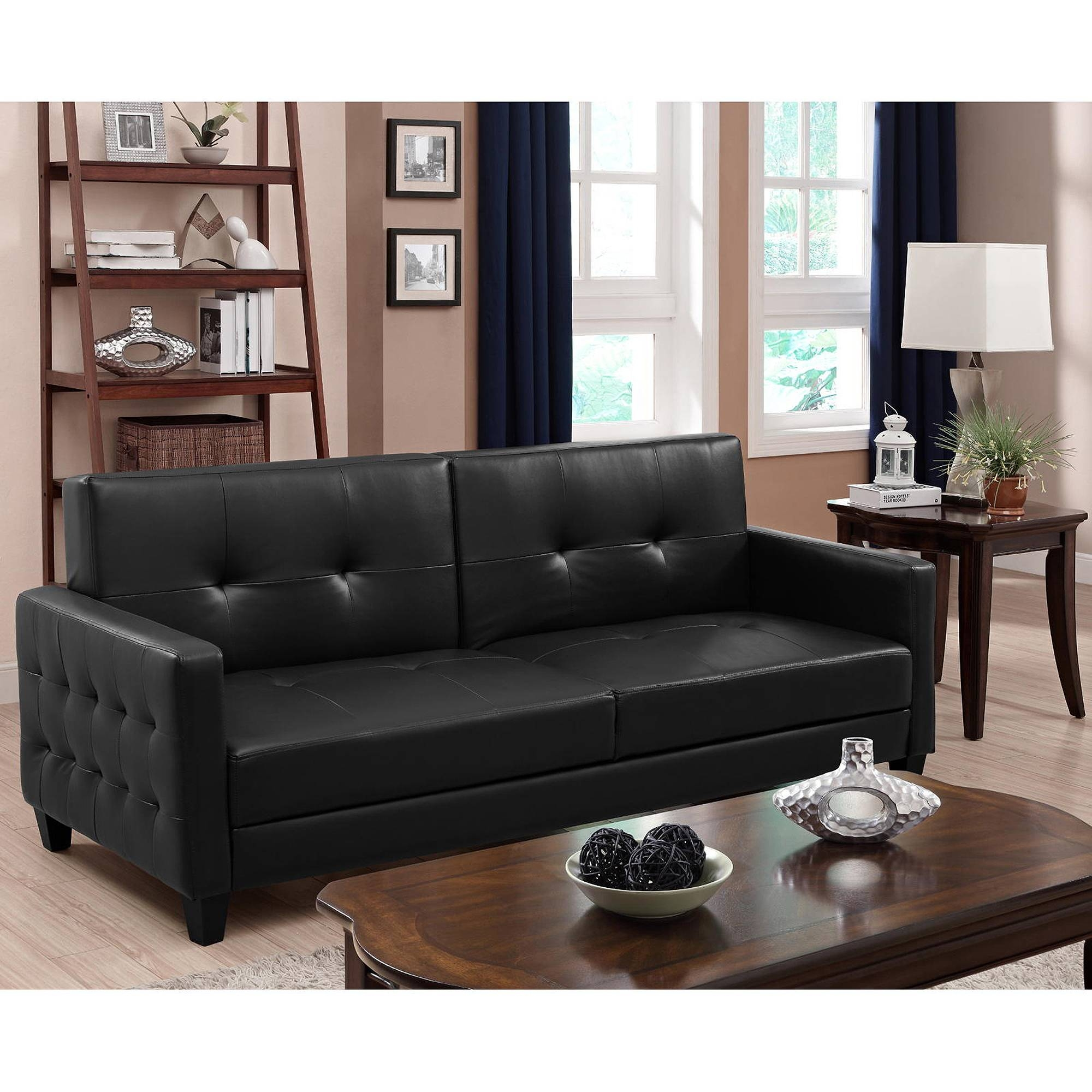 Premium Rome Convertible Futon, Multiple Colors - Walmart with Faux Leather Futon Sofas (Image 12 of 15)