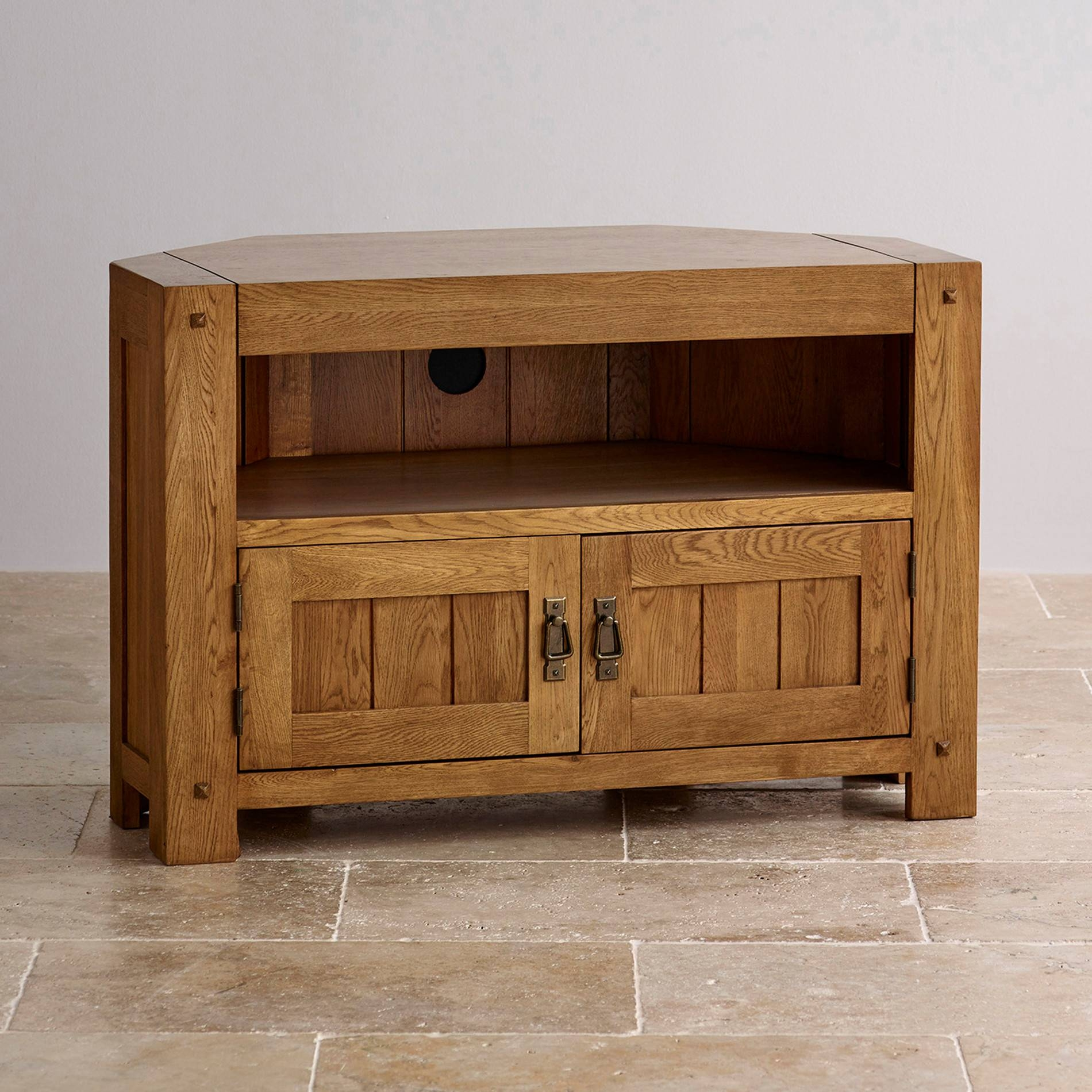 Quercus Corner Tv Cabinet In Rustic Oak | Oak Furniture Land Throughout Solid Oak Tv Cabinets (View 8 of 15)