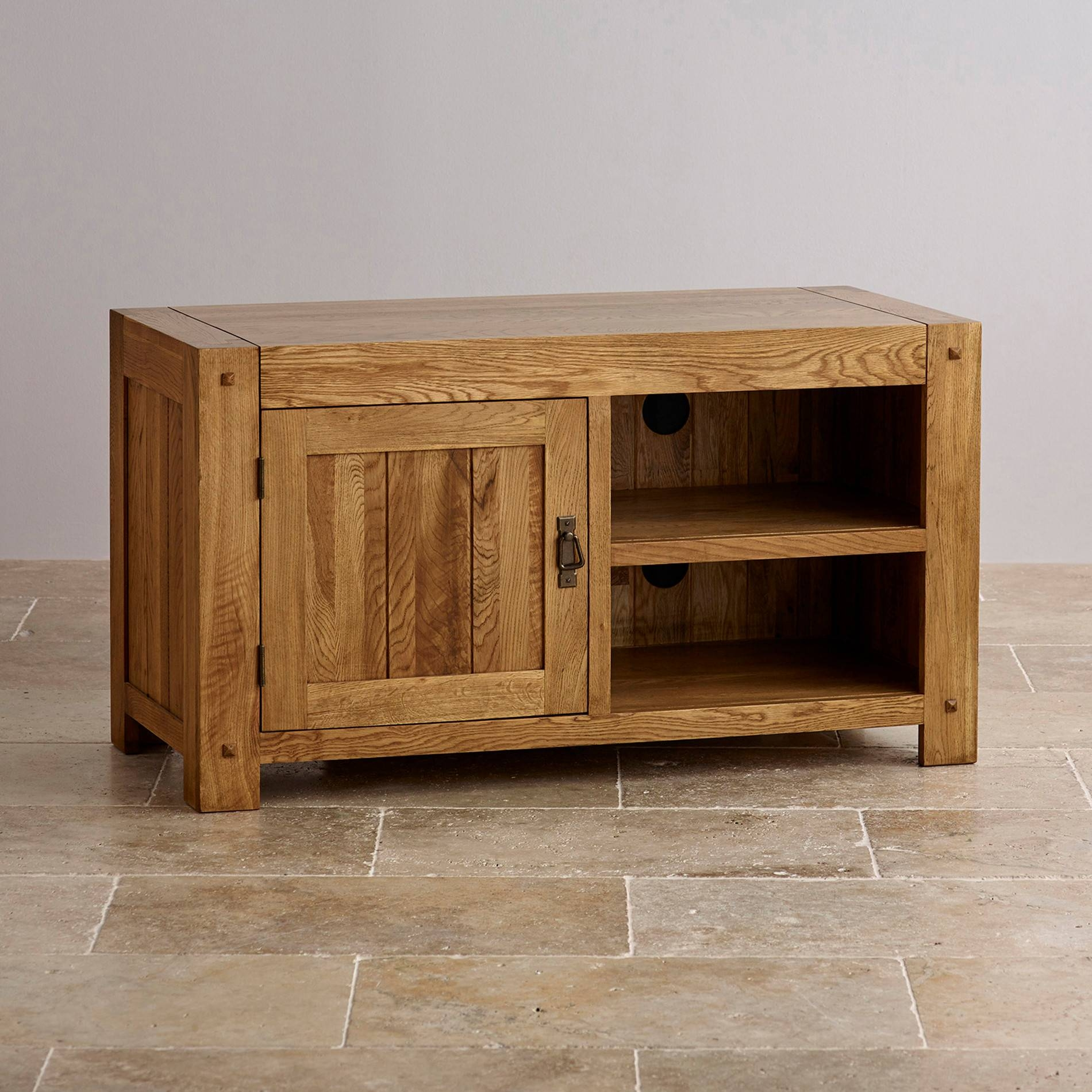 Quercus Tv Cabinet In Rustic Solid Oak | Oak Furniture Land with regard to Oak Tv Cabinets With Doors (Image 9 of 15)