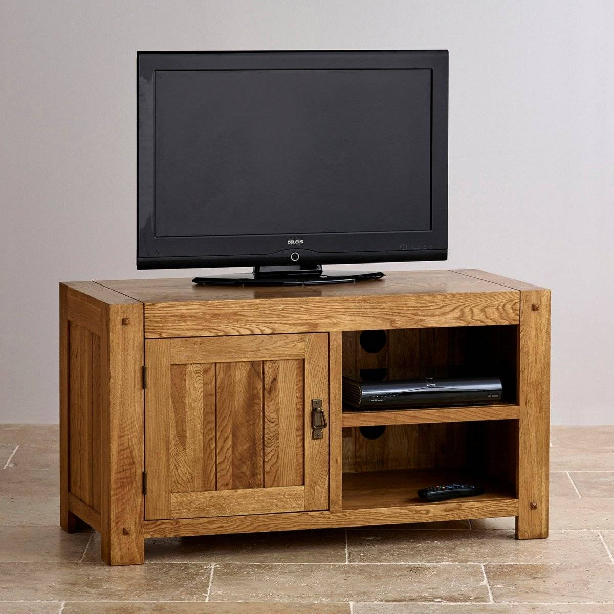 Quercus Tv Cabinet In Rustic Solid Oak | Oak Furniture Land with Small Tv Cabinets (Image 9 of 15)