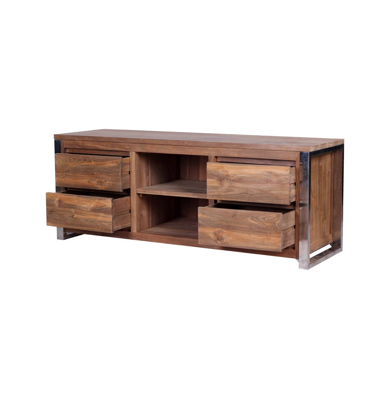 Rarem Reclaimed Wood Tv Stand - Reclaimed Teak And Stainless Steel regarding Recycled Wood Tv Stands (Image 5 of 15)