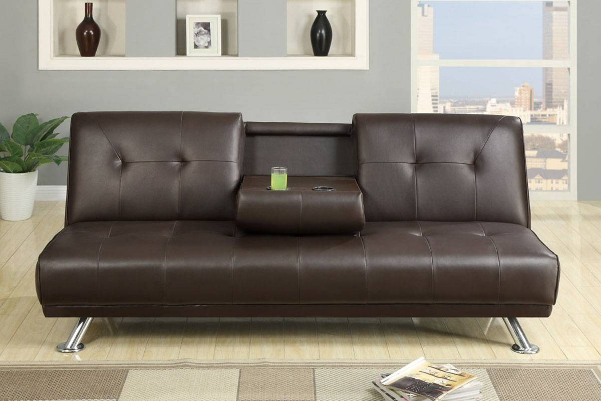 Real Leather Futon | Roselawnlutheran with regard to Faux Leather Futon Sofas (Image 13 of 15)