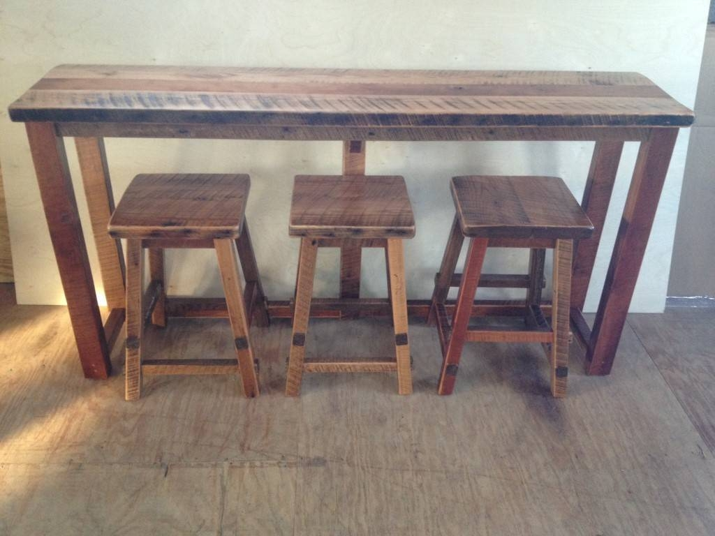 Reclaimed Barn Wood Breakfast Bar intended for Barnwood Sofa Tables (Image 7 of 15)
