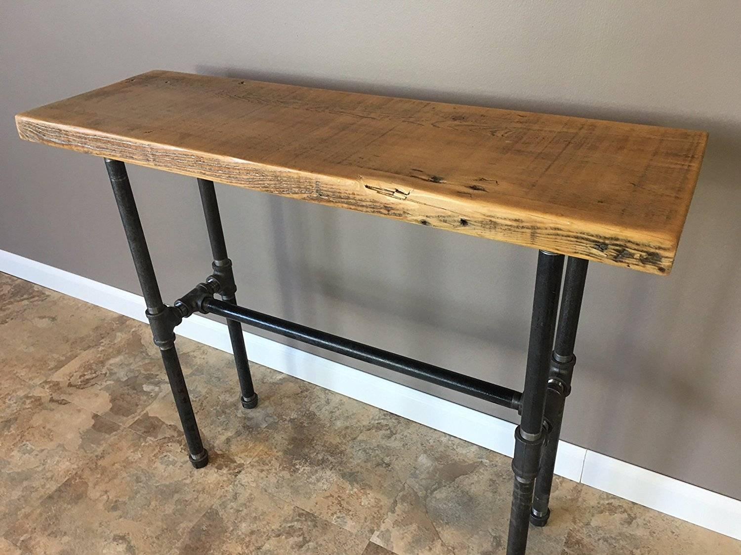 "Reclaimed Barn Wood Console Table With Pipe Legs - 30"" Height intended for Barnwood Sofa Tables (Image 8 of 15)"