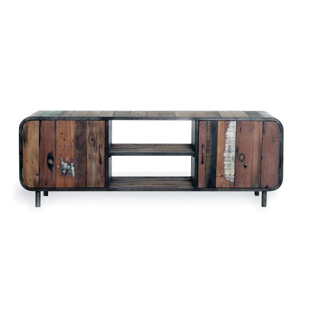 Reclaimed Wood Havana Tv & Media Unit | Modern Living Room Storage inside Recycled Wood Tv Stands (Image 6 of 15)