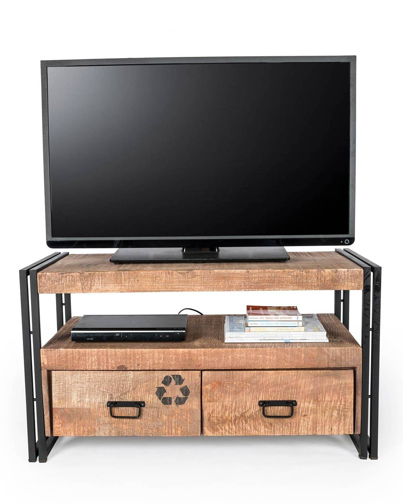 Reclaimed Wood Tv Stand Industrial Furniture Range - Homescapes inside Recycled Wood Tv Stands (Image 8 of 15)