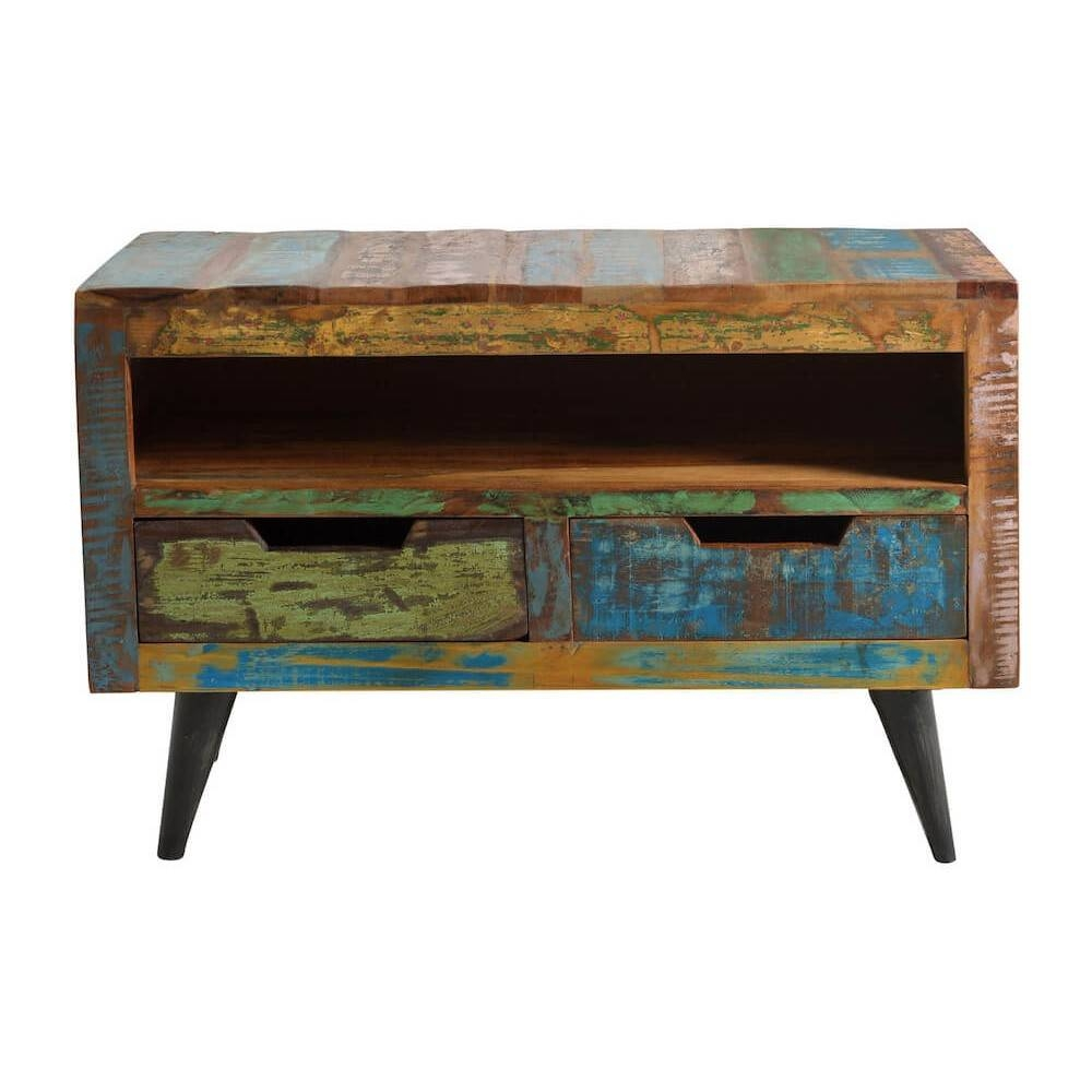 Reclaimed Wood Tv Stand | Retro Eco Friendly Wooden Media Units for Recycled Wood Tv Stands (Image 9 of 15)
