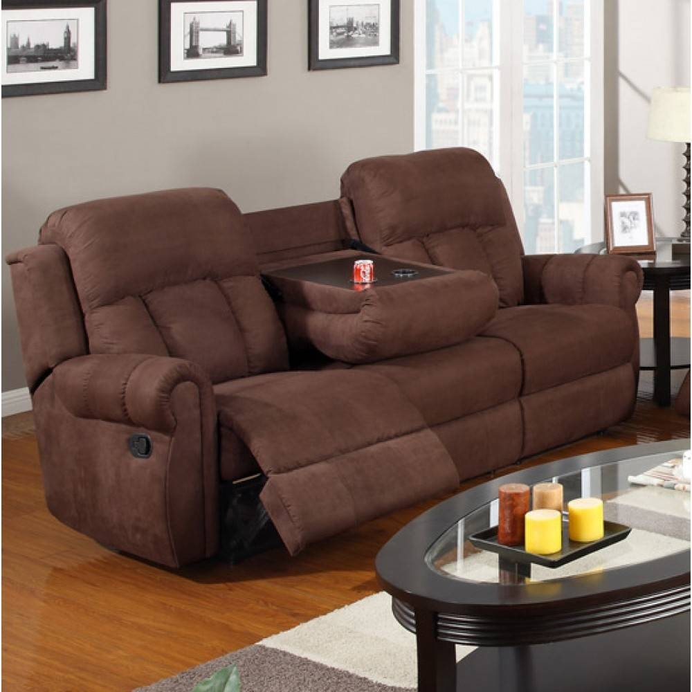 Recliner Sofa W. Cup Holders Chocolate - Microfibe(3-Seater Only) pertaining to Sofas With Drink Holder (Image 10 of 15)