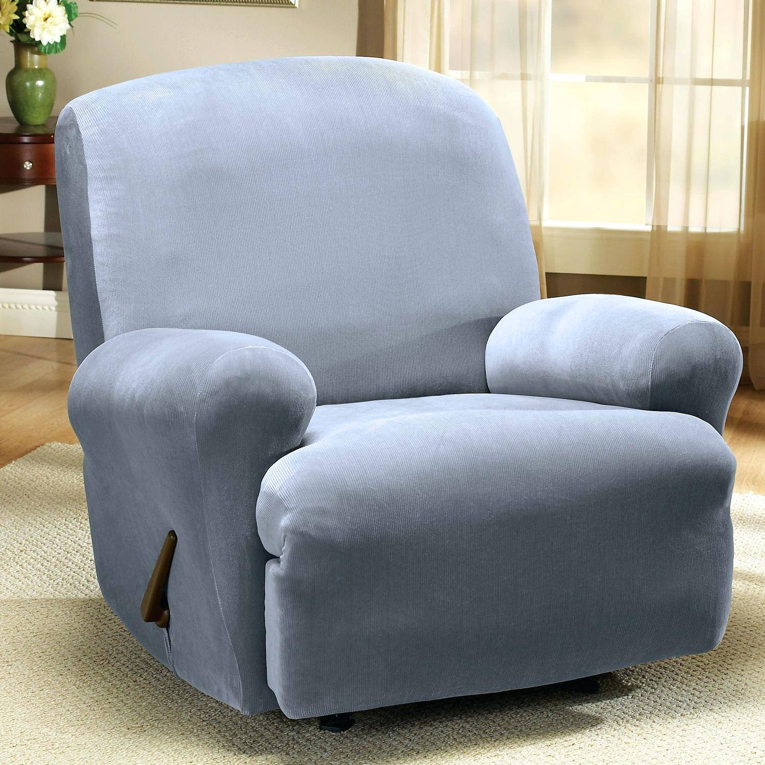 Recliners: Awesome Blue Recliner Slipcover For Living Space. Blue inside Navy Blue Slipcovers (Image 14 of 15)