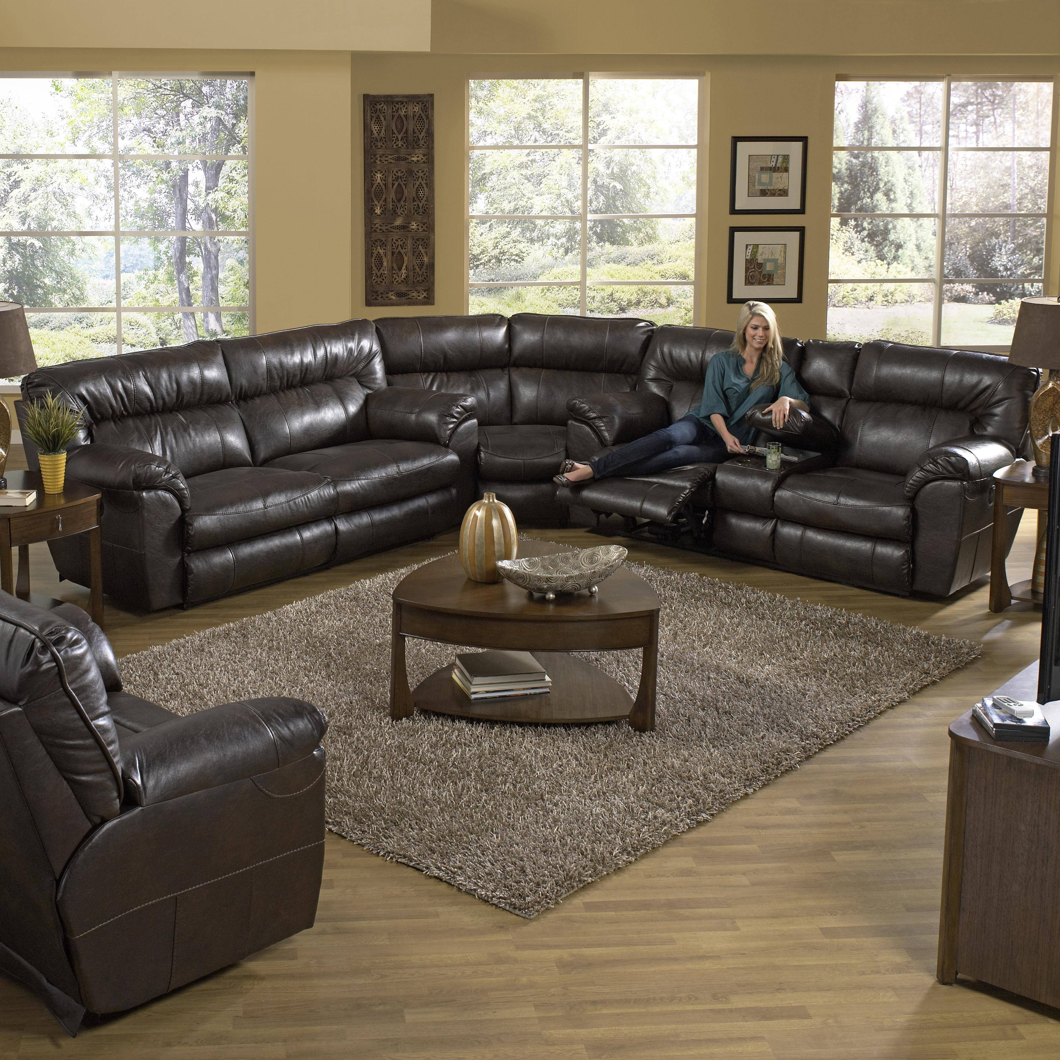 Reclining Sectional Sofa With Right Consolecatnapper | Wolf In Catnapper Recliner Sofas (View 12 of 15)