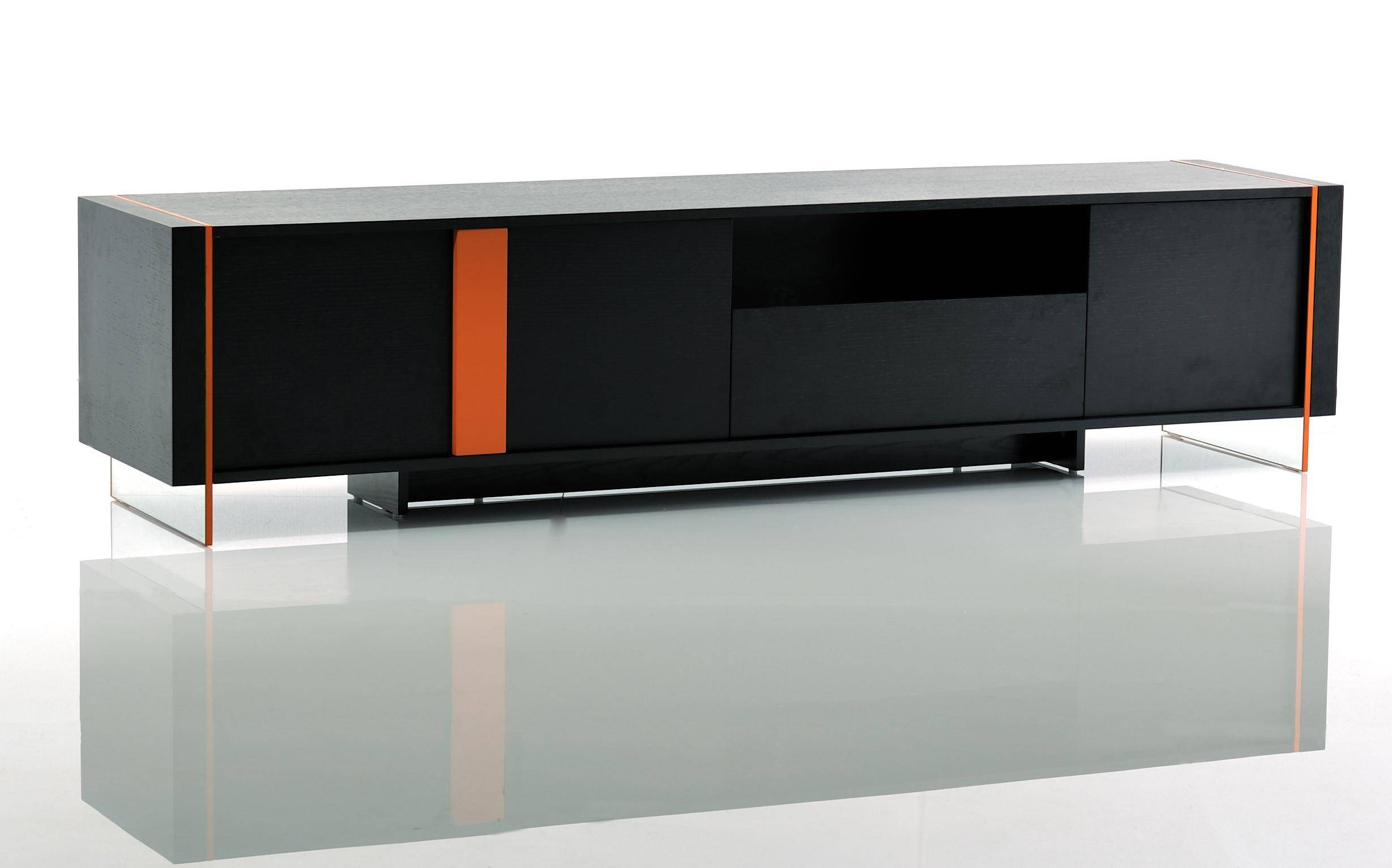 Rectangle Modern Flat Tv Stand Made Of Solid Wood In Black Throughout Rectangular Tv Stands (View 10 of 15)