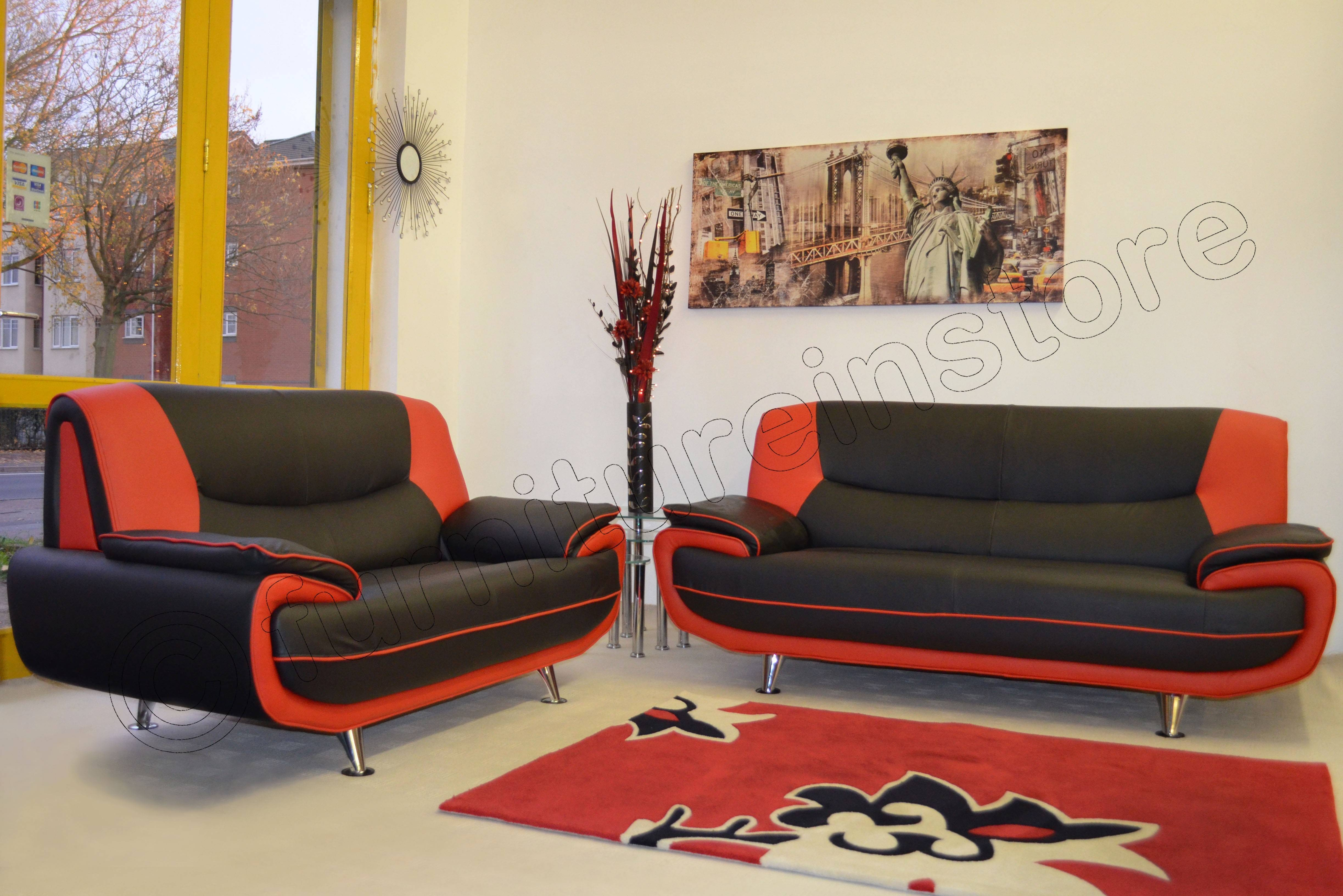 Red And Black Leather Sofa 56 With Red And Black Leather Sofa inside Black And Red Sofas (Image 14 of 15)