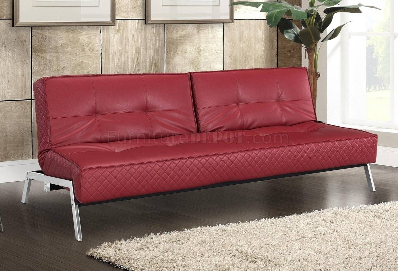 Red Bonded Leather Modern Convertible Sofa Bed W/chrome Legs throughout Castro Convertible Sofas (Image 8 of 15)