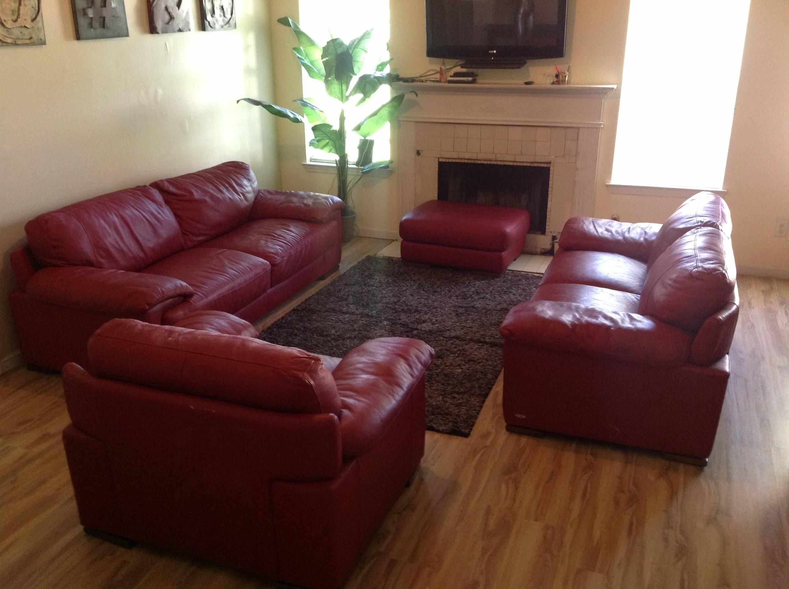 Red Cindycrawford Home Leather Couch Set - Youtube regarding Cindy Crawford Sectional Sofas (Image 14 of 15)