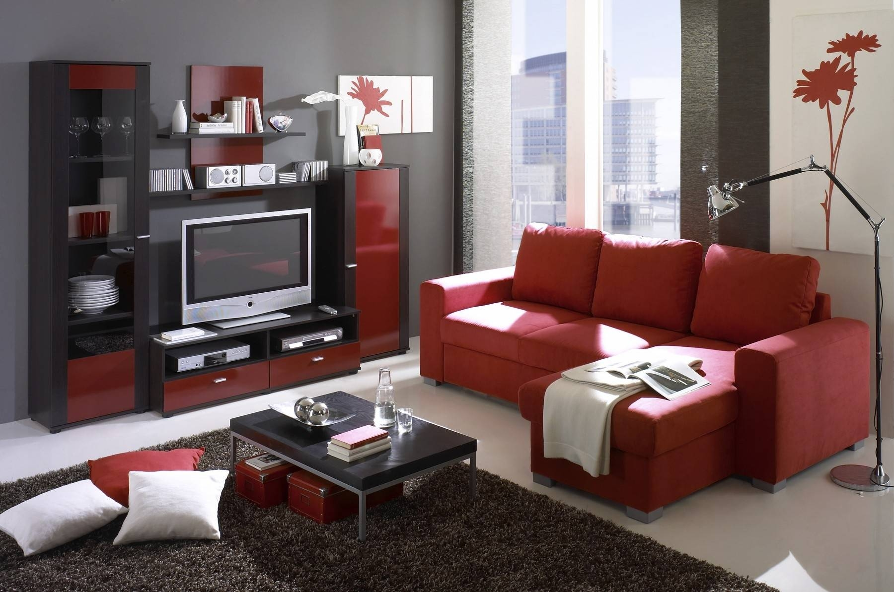 Red Couches For Small Family Room With Built In Tv Cabinet Ideas Pertaining To Red Tv Cabinets (View 11 of 15)