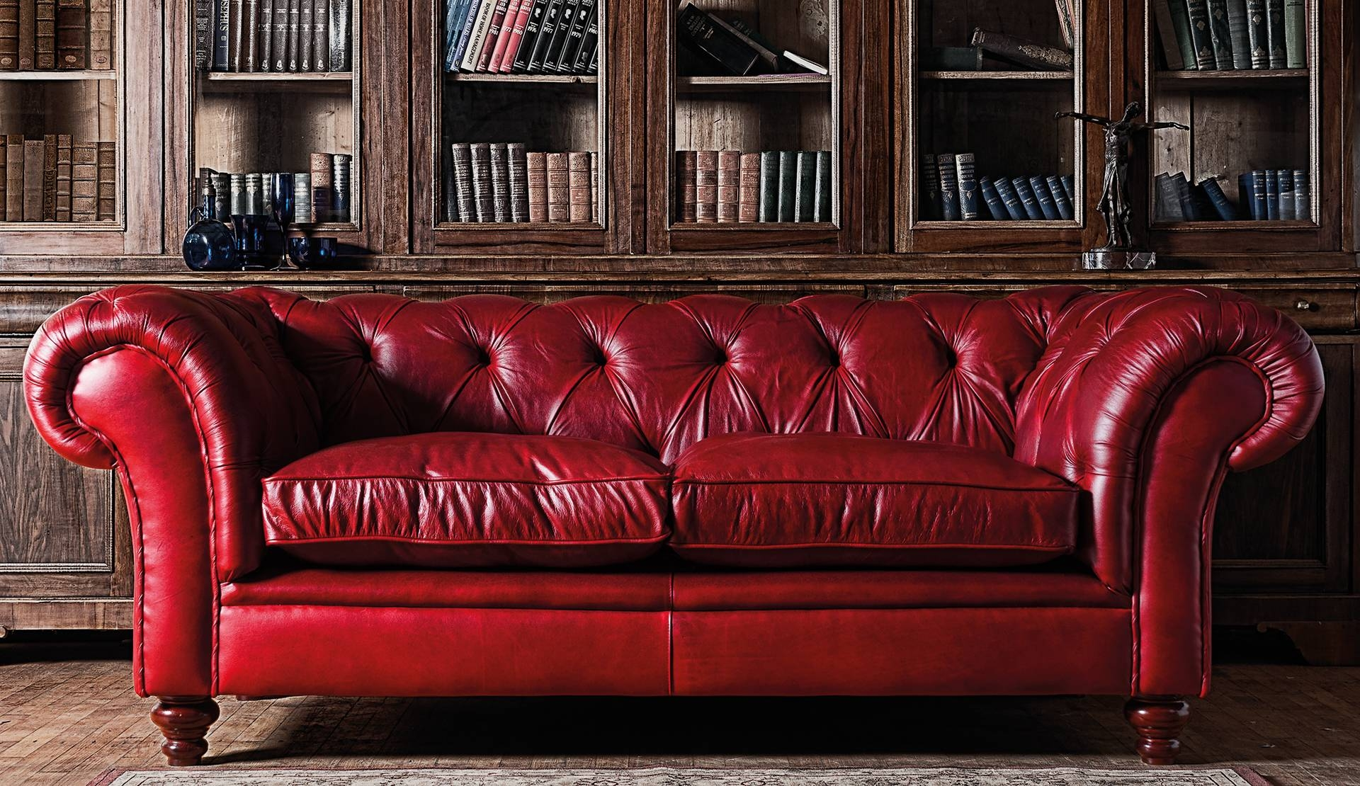 Red Leather Chesterfield Sofa : New Lighting - Leather within Red Chesterfield Chairs (Image 11 of 15)
