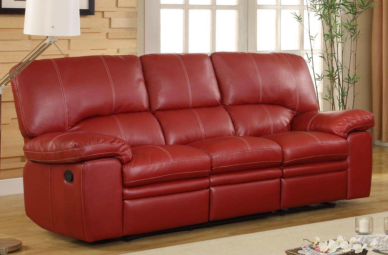 Red Leather Sectional Sofa With Recliners | Centerfieldbar intended for Dark Red Leather Sofas (Image 12 of 15)