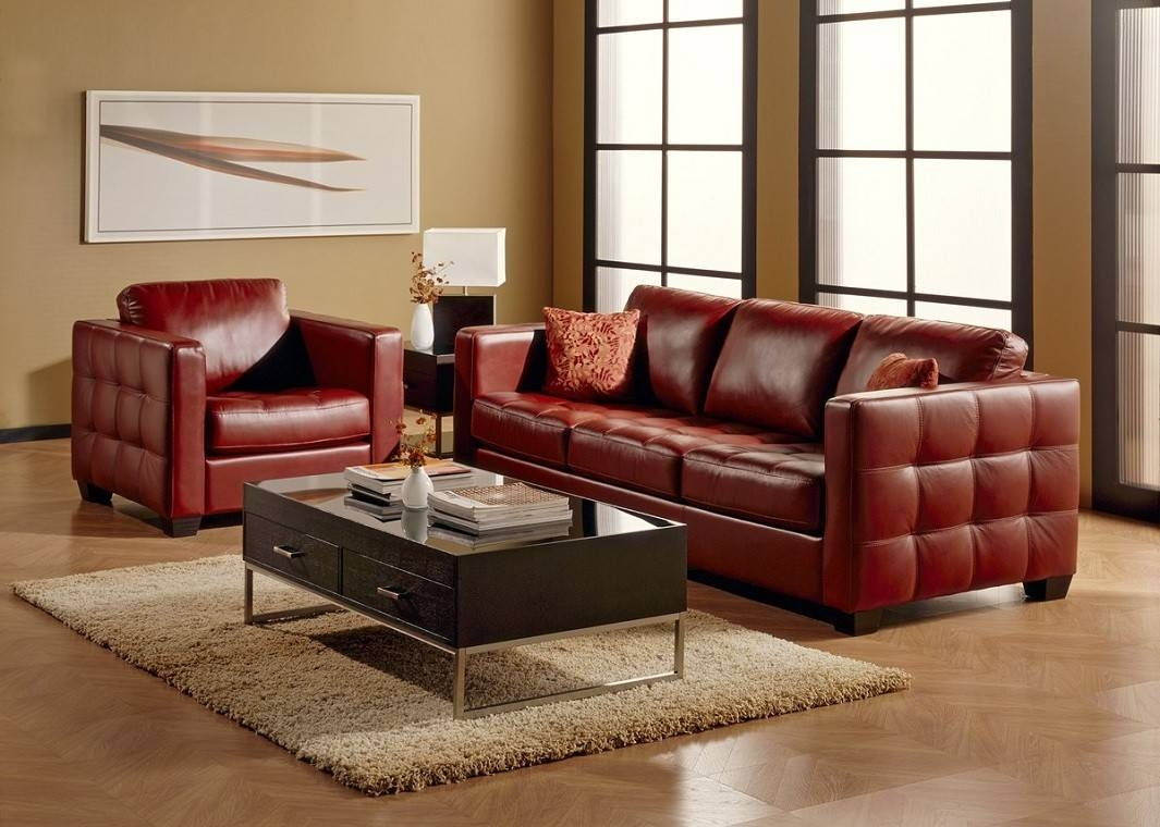 Red Top Grain Leather Sofa in Dark Red Leather Sofas (Image 13 of 15)