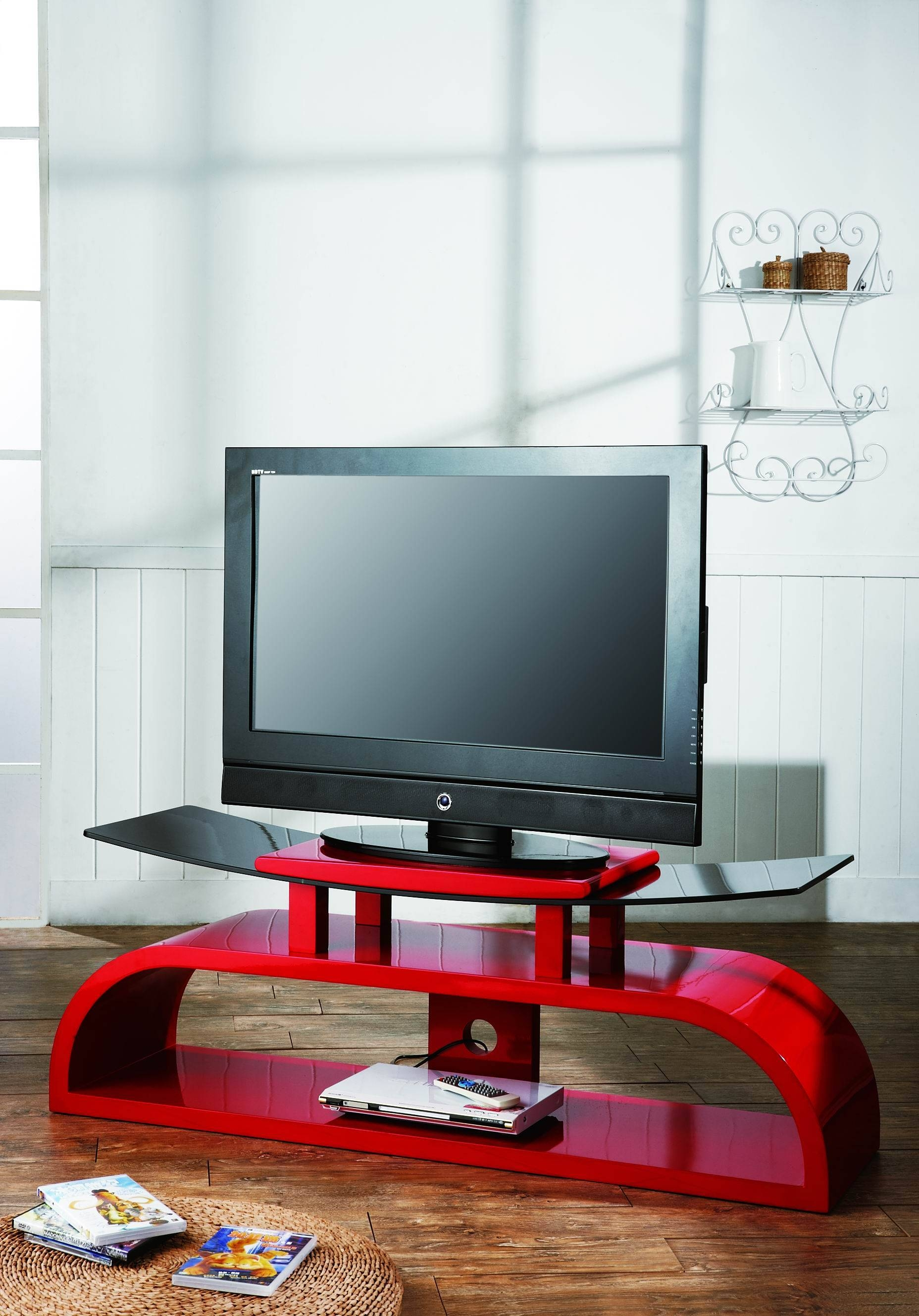 Red Tv Stand – Crimson – Wood Tv Stand – Lcd Tv Stand – Wooden Within Black And Red Tv Stands (View 11 of 15)