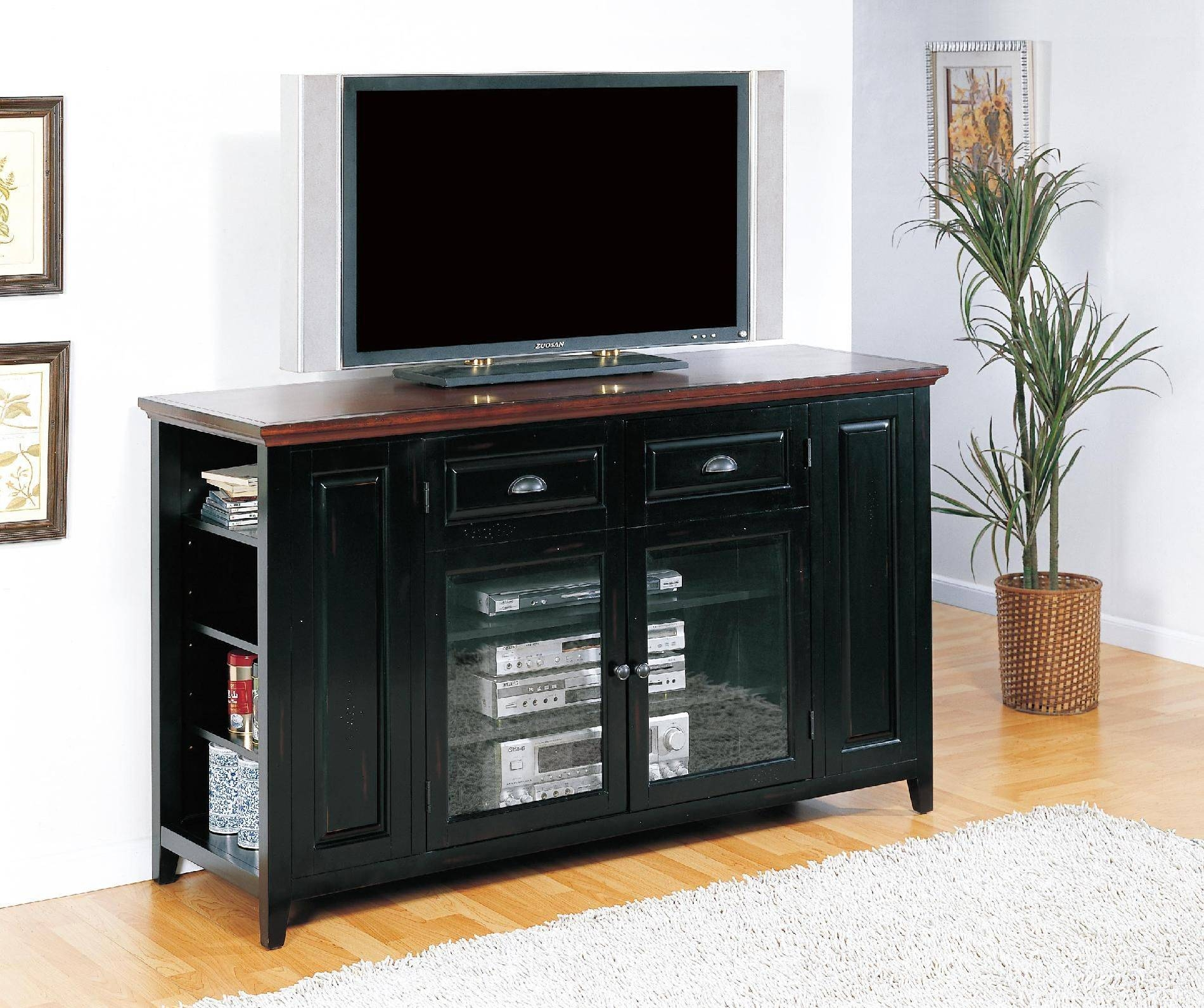 Retro Black Oak Wood Tv Stand With Glass Doors Of Tall Tv Stands within Tall Black Tv Cabinets (Image 9 of 15)