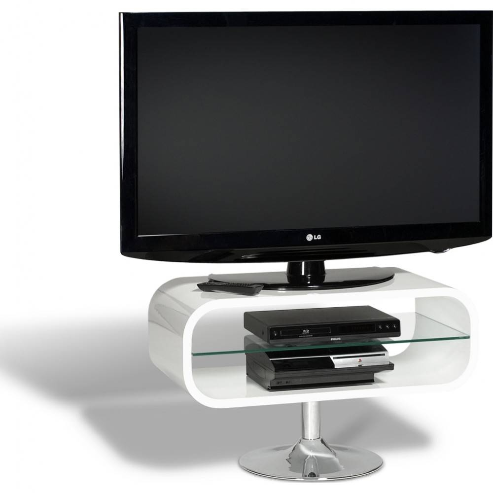 Retro Chrome Pedestal; Quick To Assemble; Displays Up To 42 regarding Ovid White Tv Stand (Image 1 of 15)