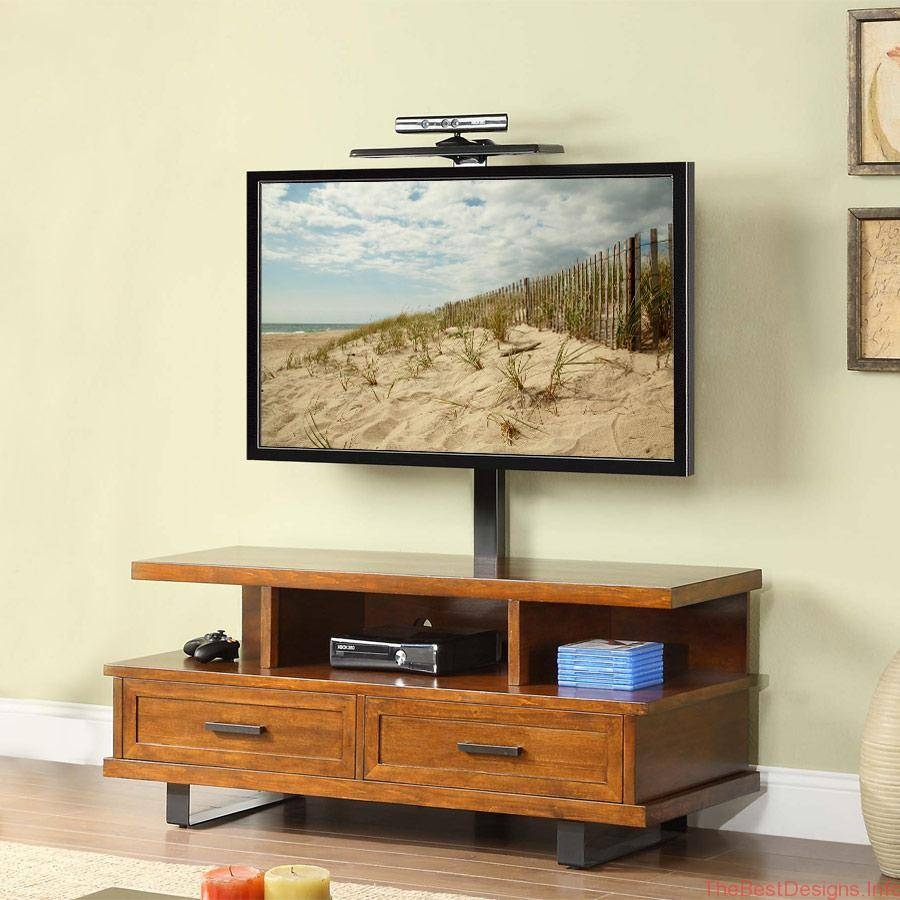 Retro Light Brown Varnished Oak Wood Media Cabinet With Storage throughout Light Oak Tv Stands Flat Screen (Image 6 of 15)