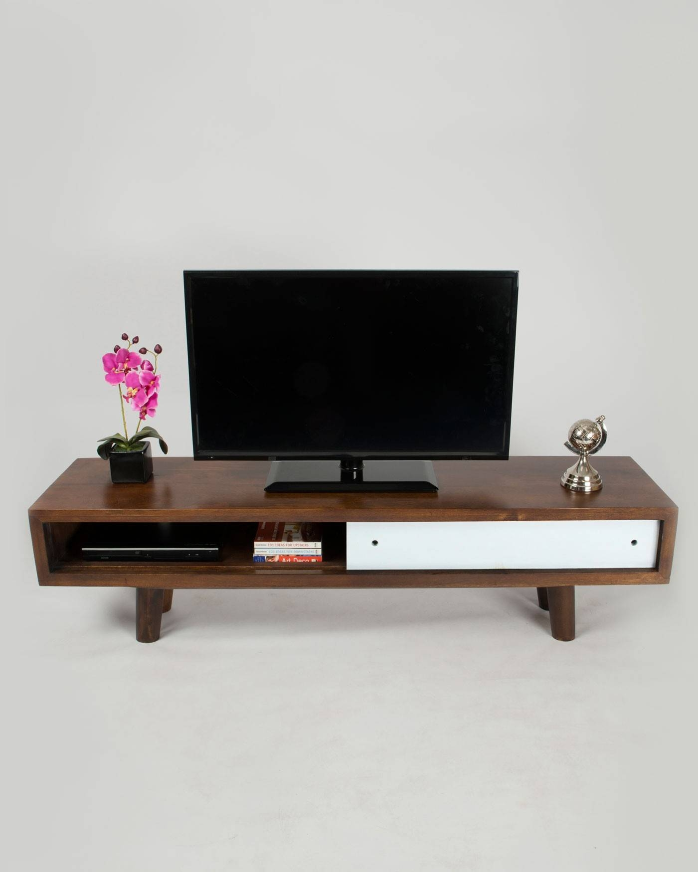 Retro Mid Century Dark Wood Tv And Media Unit With White Sliding inside Dark Wood Tv Stands (Image 12 of 15)