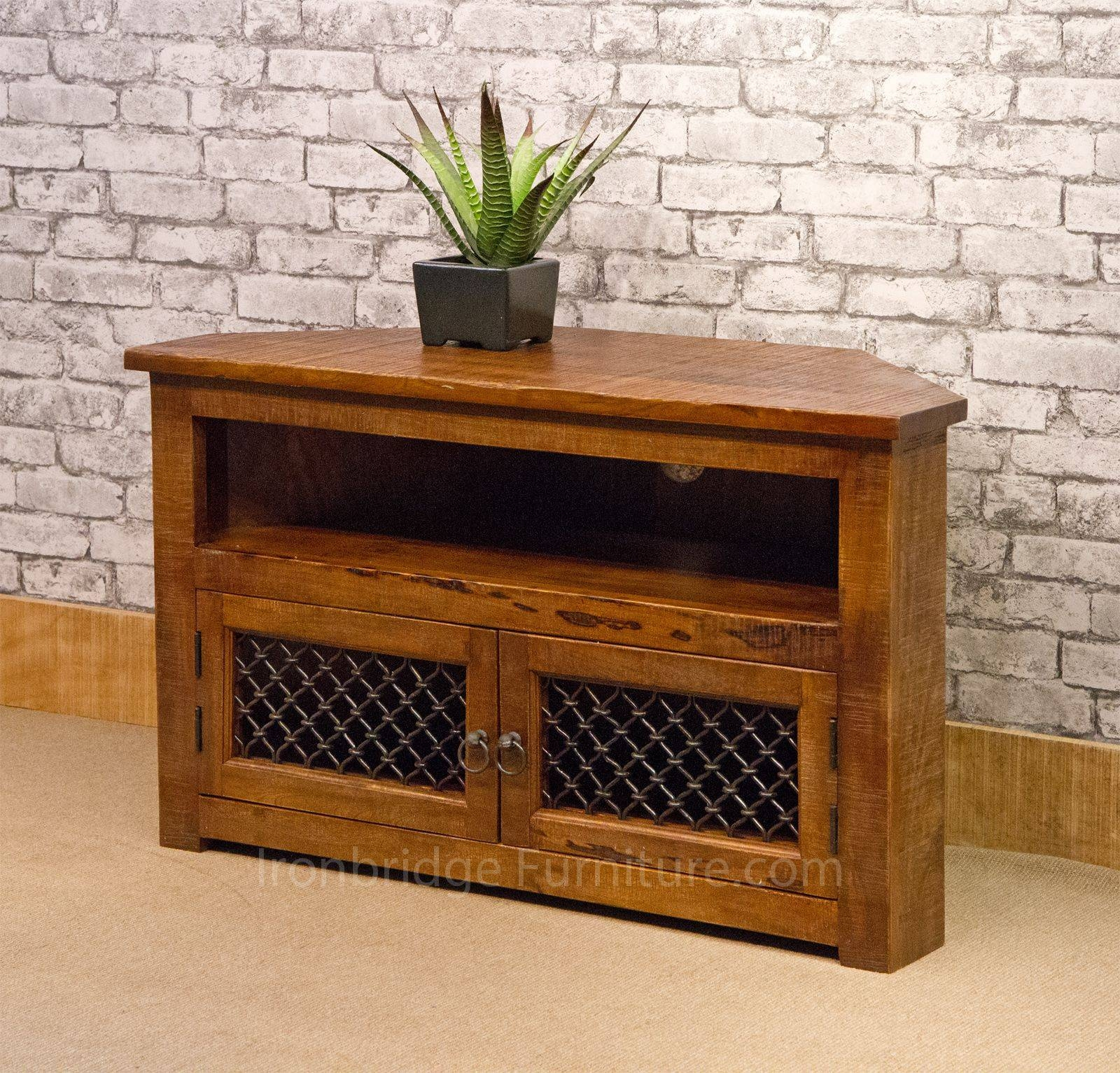 Rf-13 Jali Rustic Farm Corner Tv Stand 100Cm inside 100Cm Tv Stands (Image 6 of 15)