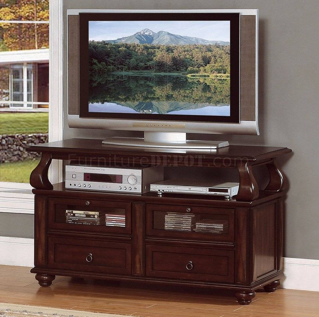 Rich Brown Cherry Finish Traditional Tv Stand W/pull-Out Shelves inside Cherry Tv Stands (Image 12 of 15)