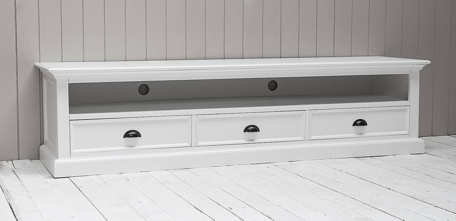 Richmond Painted Pine Low Tv Cabinet | Oak Furniture Solutions throughout White Painted Tv Cabinets (Image 14 of 15)