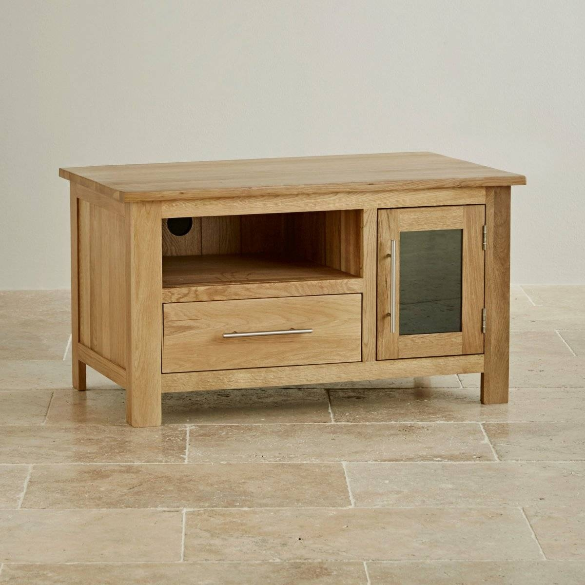 Rivermead Natural Solid Oak Tv + Dvd Cabinet | Lounge Furniture Regarding Small Oak Tv Cabinets (View 13 of 15)