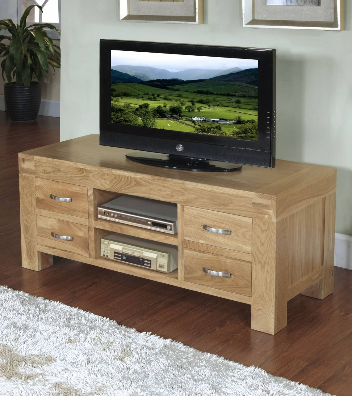 Rivermead Solid Oak Modern Furniture Widescreen Tv Cabinet Stand throughout Oak Tv Cabinets With Doors (Image 11 of 15)
