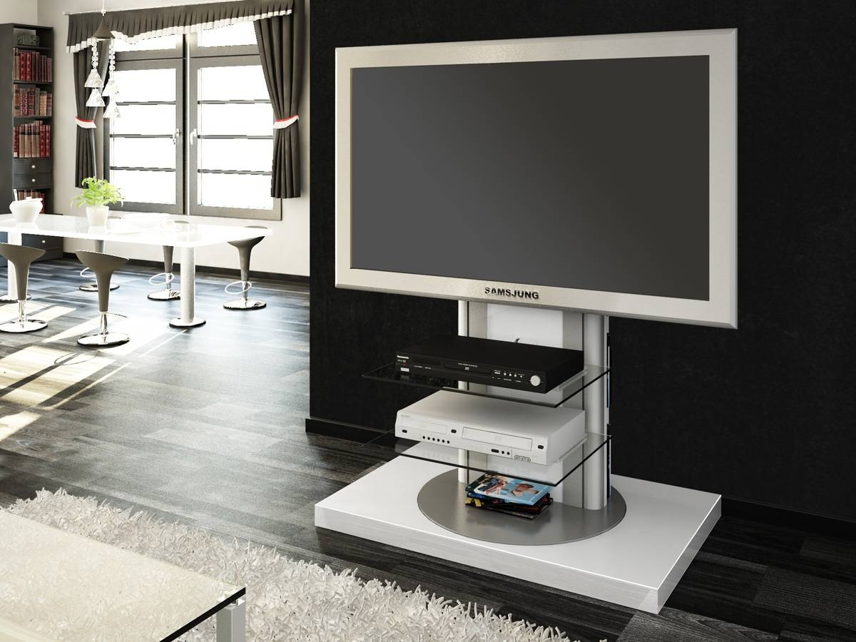 Roma White Swivel High Gloss Tv Stand | Modern Tv Stands With Tv Stands Swivel Mount (View 2 of 15)