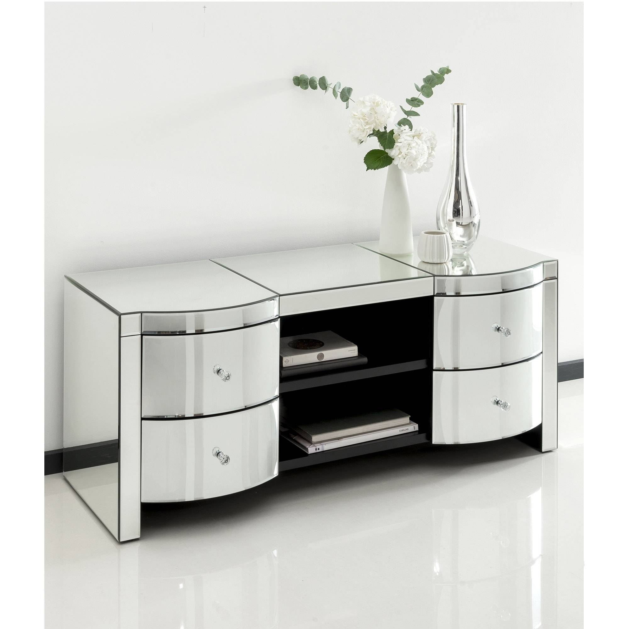 Romano Crystal Mirrored Tv Cabinet | Venetian Mirrored Furniture with Mirror Tv Cabinets (Image 10 of 15)