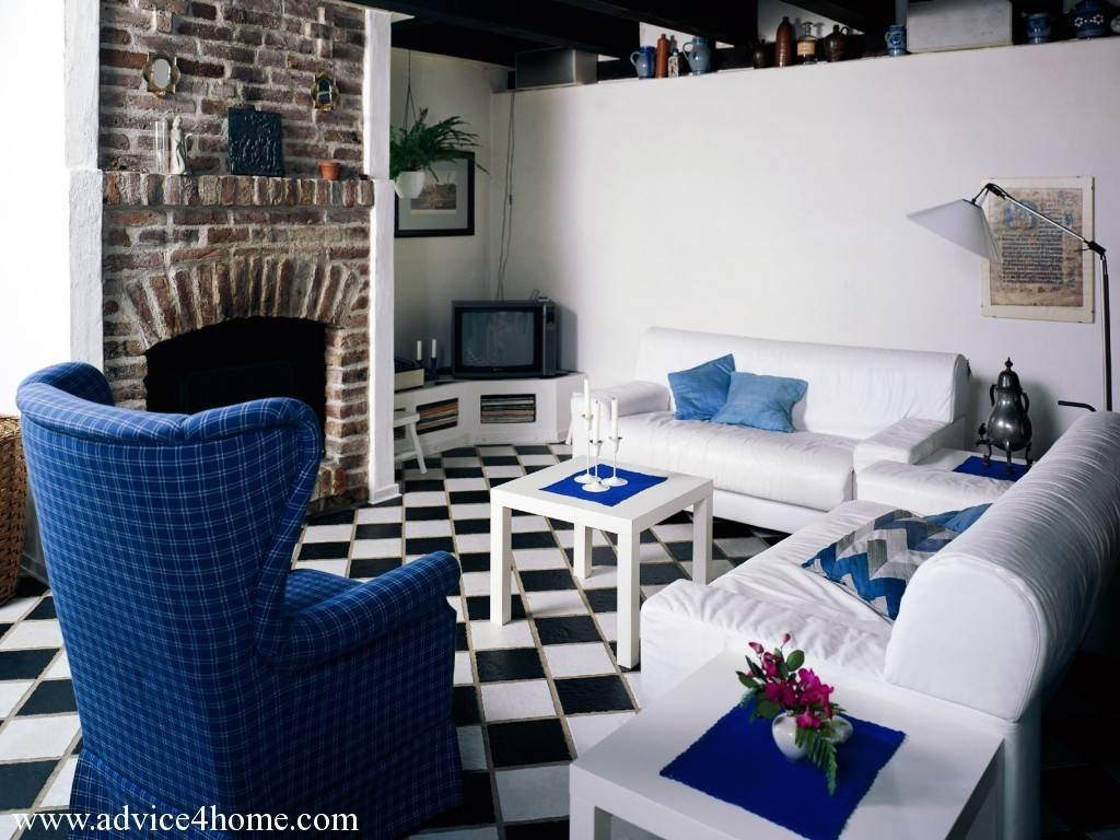 Room With Fireplace And Blue-White Sofa Set Design And Wall Design pertaining to Blue And White Sofas (Image 10 of 15)