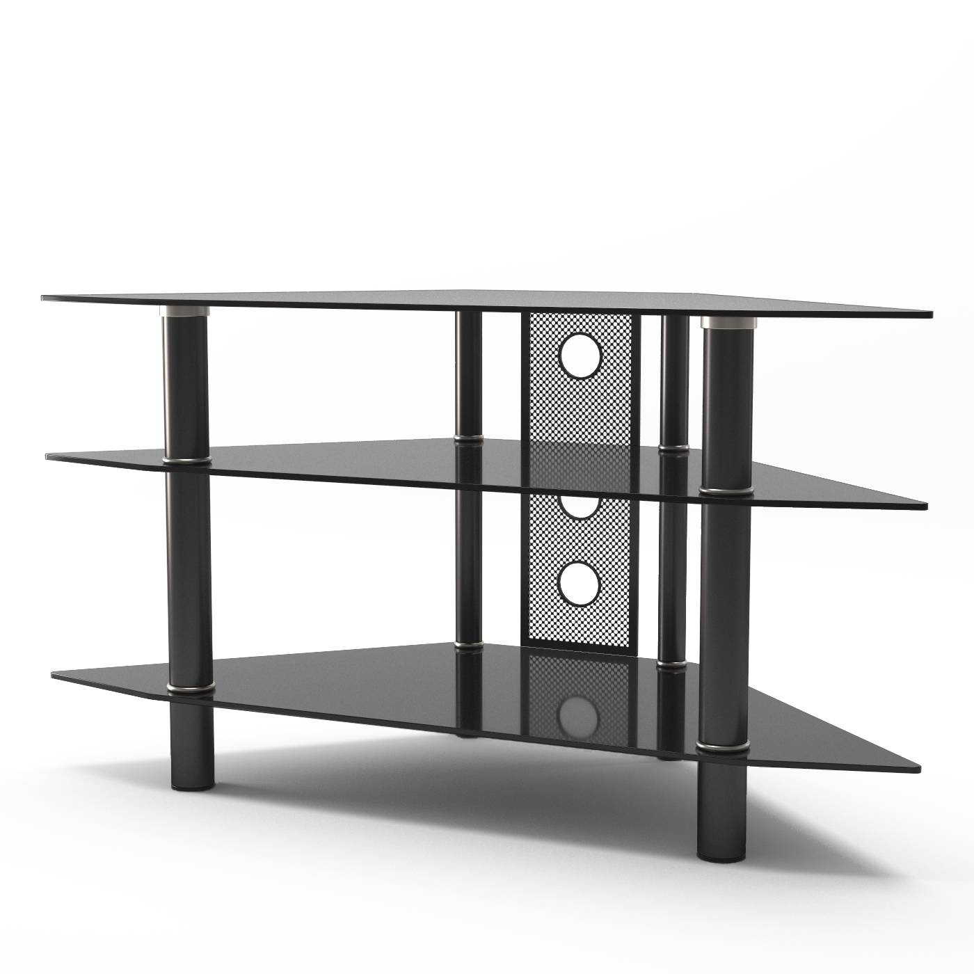 Ruby 44 Inch Corner Glass Tv Stand In Black In Silver Tv Stands (View 14 of 15)