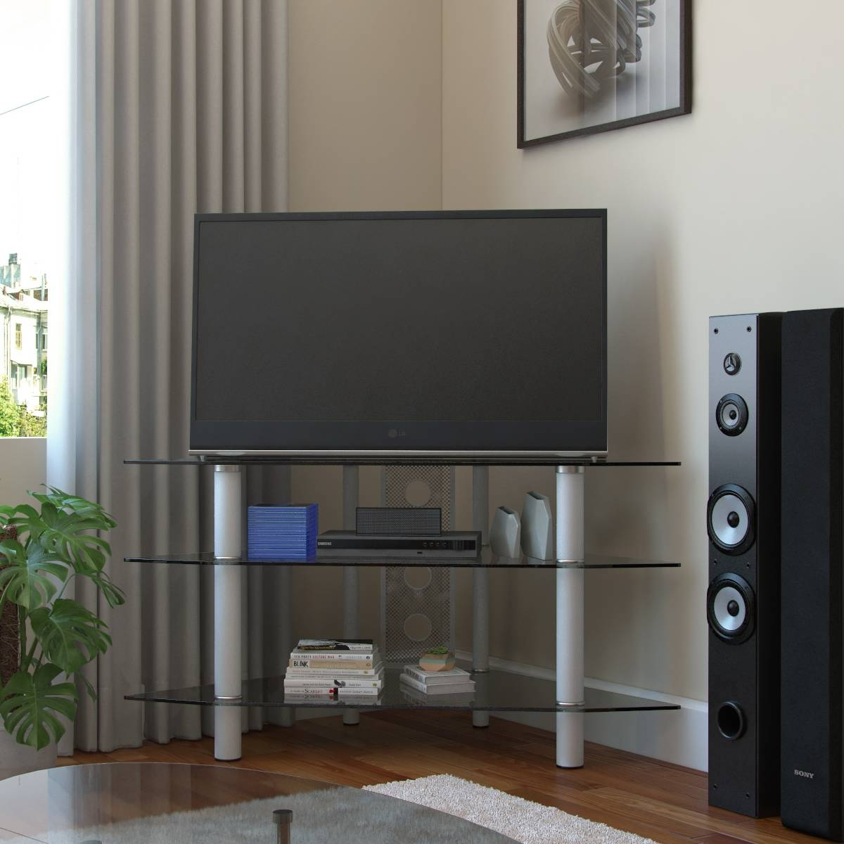 Ruby 44 Inch Corner Glass Tv Stand Silver And Clear Glass Pertaining To Silver Corner Tv Stands (View 4 of 15)