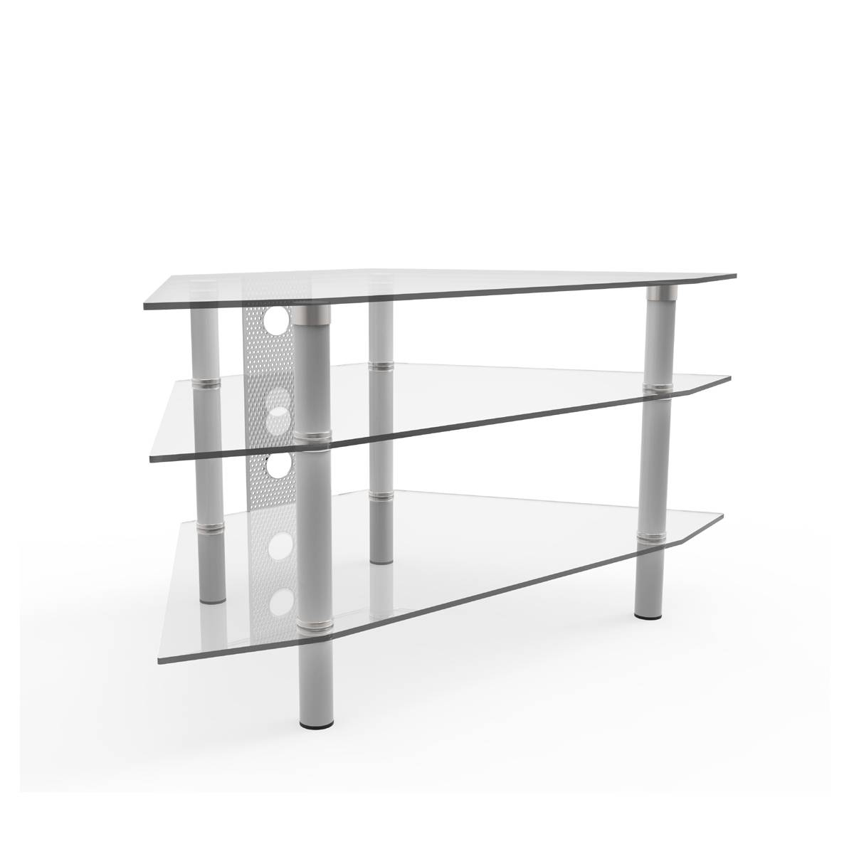 Ruby 44 Inch Corner Glass Tv Stand Silver And Clear Glass throughout Clear Glass Tv Stand (Image 11 of 15)