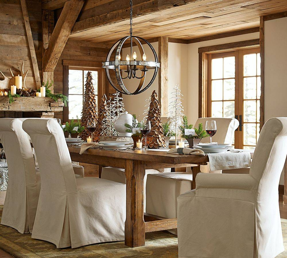 Rustic Dining Table Design With Pottery Barn Extending Kitchen inside Pottery Barn Chair Slipcovers (Image 13 of 15)