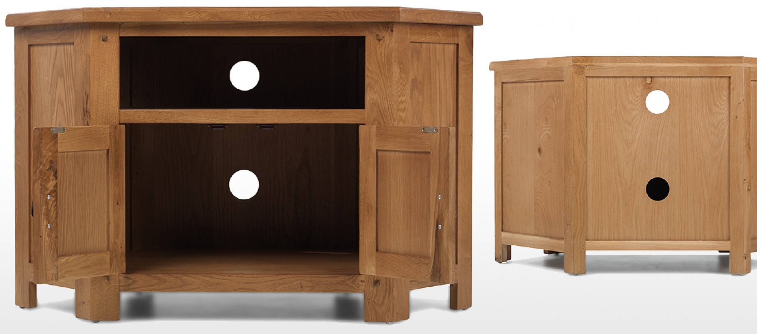 Rustic Oak Corner Tv Cabinet | Quercus Living Pertaining To Rustic Pine Tv Cabinets (View 14 of 15)