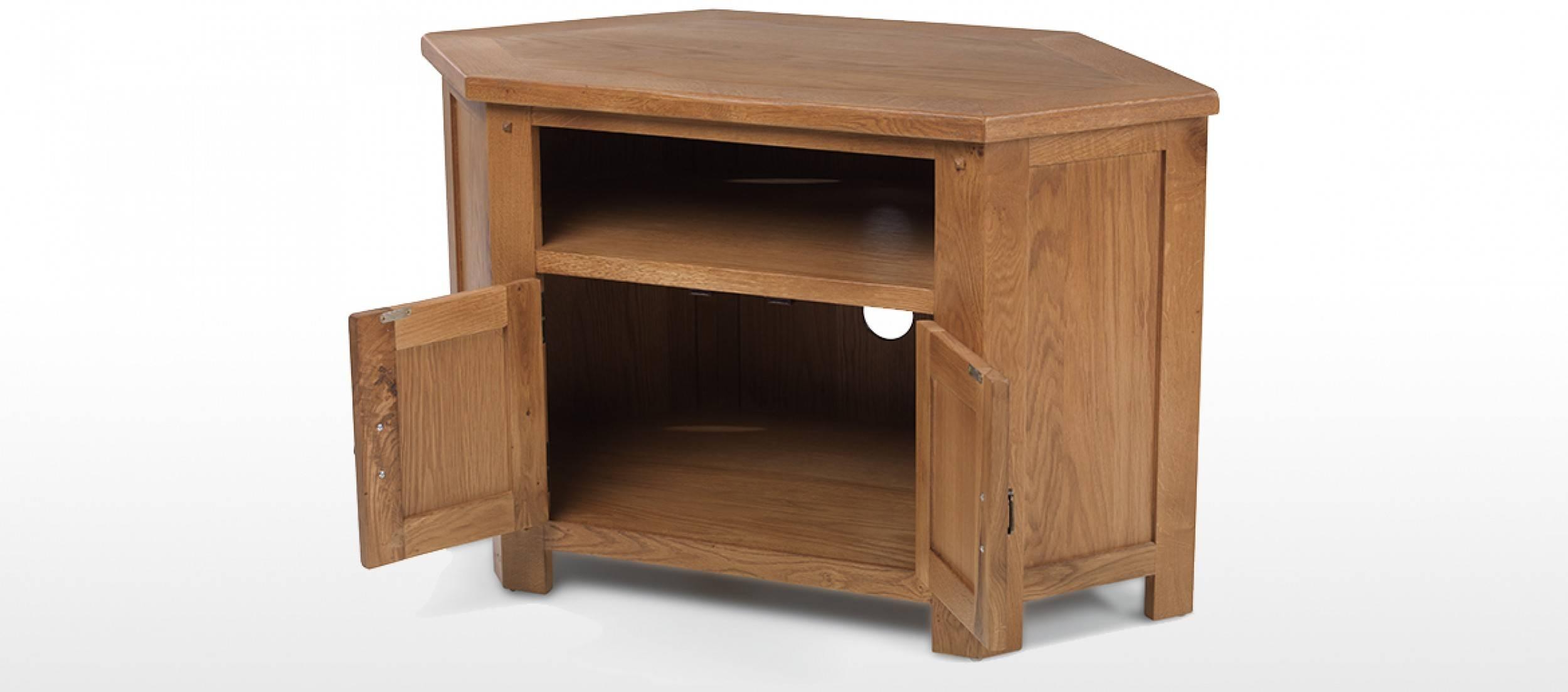 Rustic Oak Corner Tv Cabinet | Quercus Living with Rustic Corner Tv Cabinets (Image 9 of 15)