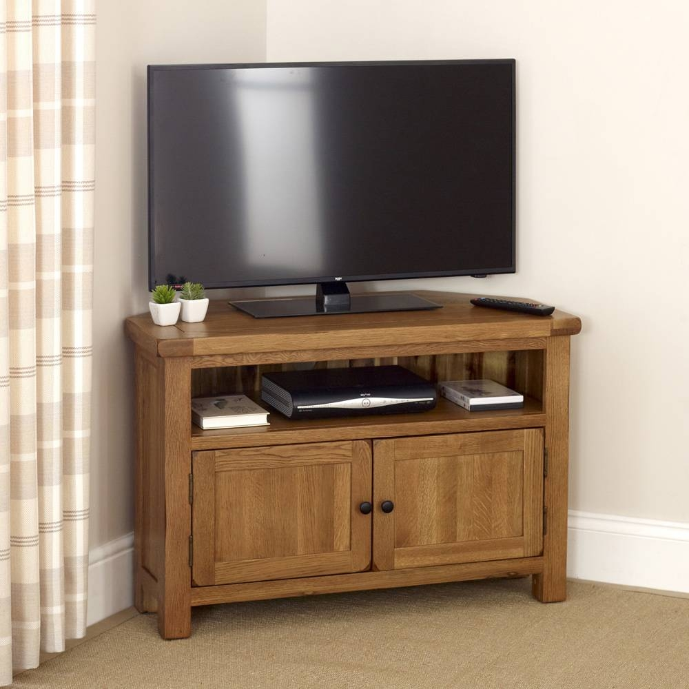 "Rustic Oak Corner Tv Unit - To Fit Tv's Up To 44"" within Rustic Oak Tv Stands (Image 12 of 15)"