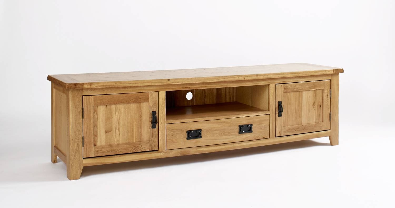 Rustic Oak Widescreen Tv Cabinet | Hampshire Furniture with Oak Tv Cabinets With Doors (Image 12 of 15)
