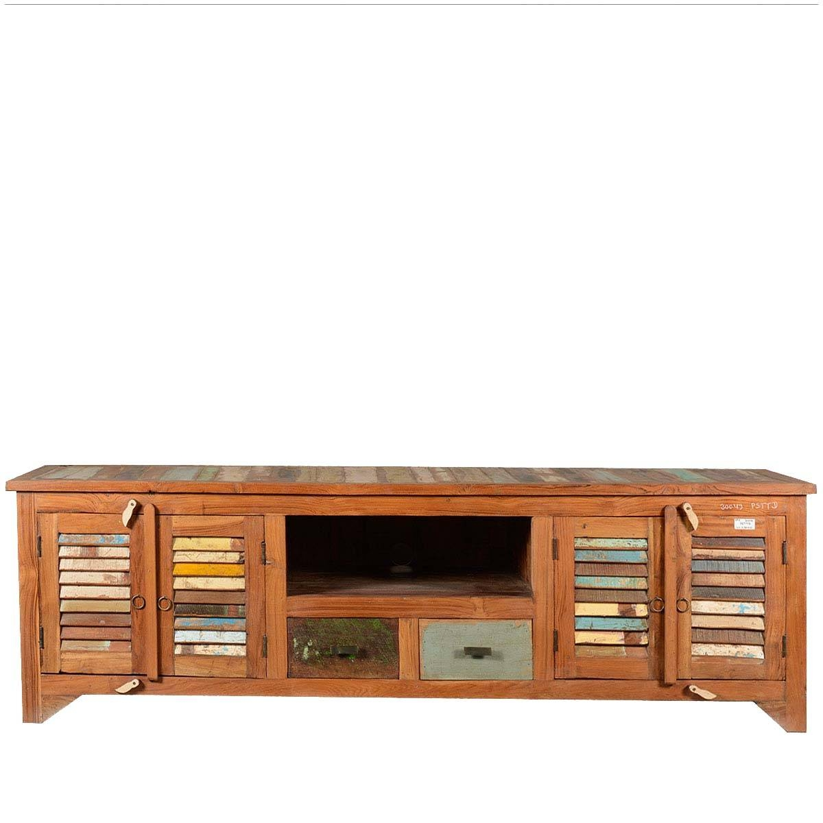 Rustic Reclaimed Wood Rainbow Shutter Doors Tv Stand Media Console with Recycled Wood Tv Stands (Image 10 of 15)