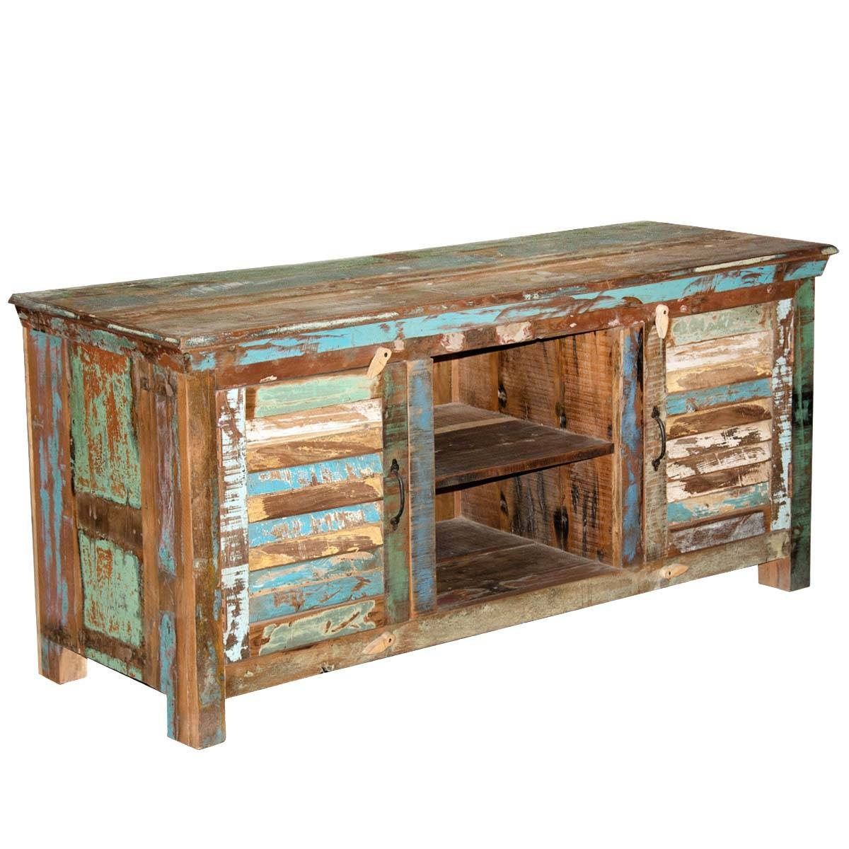 Rustic Shutter Doors Reclaimed Wood Tv Stand Media Console within Cheap Wood Tv Stands (Image 8 of 15)